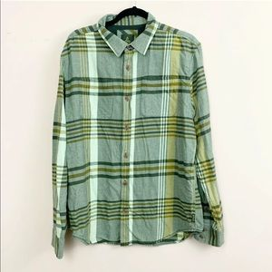 PrAna Green Plaid Button Down Shirt Large Flannel
